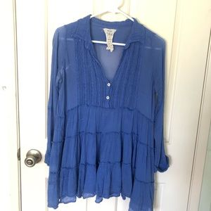 Blue Free People tunic top